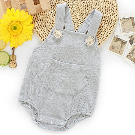 Pocket Suspender Solid Color Backless Romper