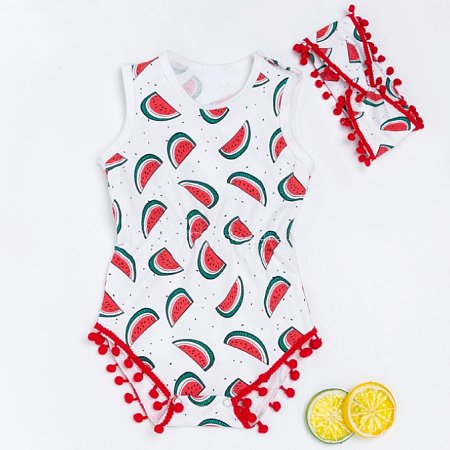 Watermelon Print Pompon Embellished Romper With Hairband