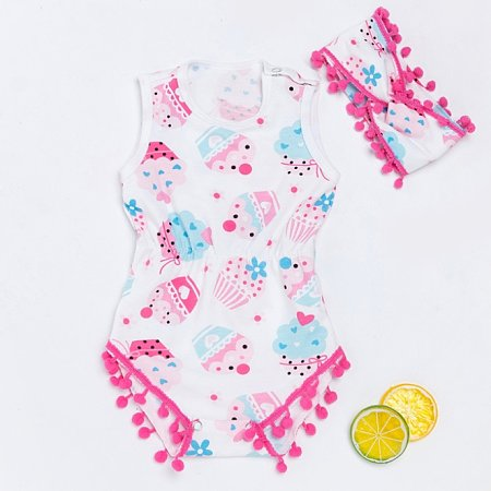 Ice Cream Print Pompon Embellished Romper With Hairband
