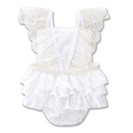 Lace Ruffle Flower Embellished White Romper