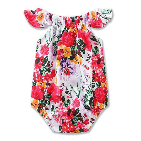 Flower Print Elastic Neck Girls Romper