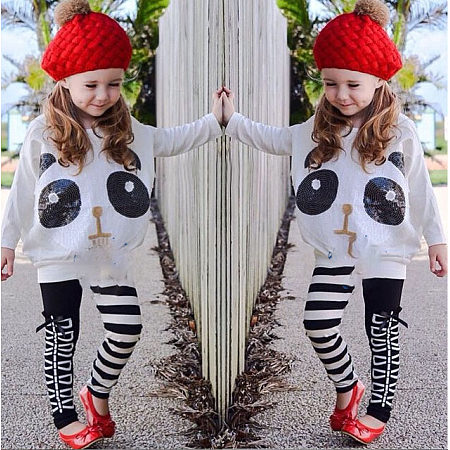 Cartoon Animal Pattern Stripes Color Block Set