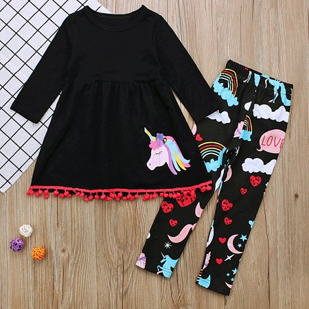 Cartoon Animal Cloud Pattern Tassels Long Sleeve Dress Set