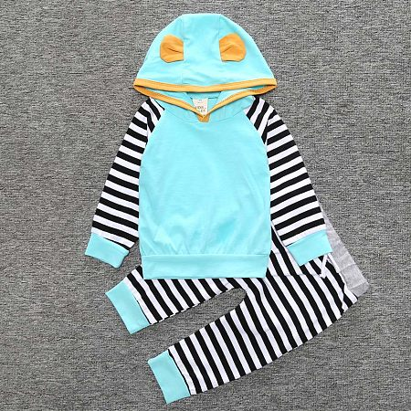Boys Girls Stripes Long Sleeve Two Pieces Set