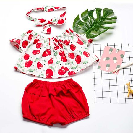 Cherry Prints Off Shoulder Two Pieces Set With Headband