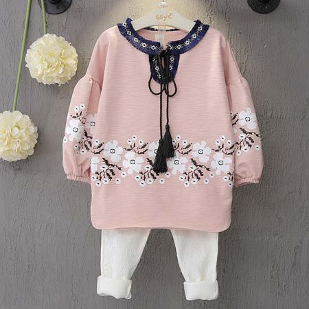 Girls Flower Pattern Lace-Up Two Pieces Set