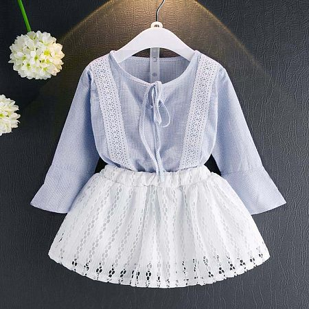 Girls Flare Sleeve Lace-Up Two Pieces Set