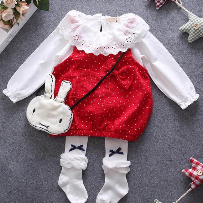 Doll Collar Polka Dot Bowknot Set