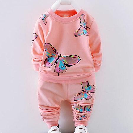Butterfly Pattern Prints Set, pink, SG17080313