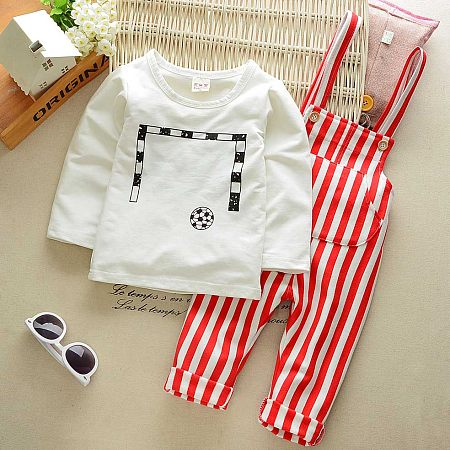 Football Print Stripes Overalls Set, red, SG17081620