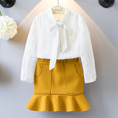 Bow Tie Floral Lace Shirt Ruffle Hem Skirt Set