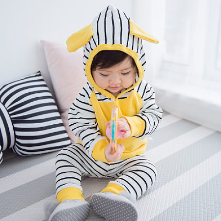 Hooded Striped Trouser Sets, yellow, SH18080918