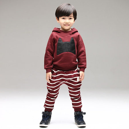Bat Pattern Hooded T-Shirt Stripe Pants Sets
