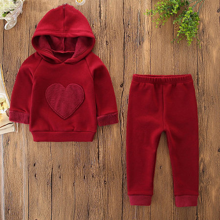 Heart-Shaped Pattern Hooded Sweater Trousers Sets