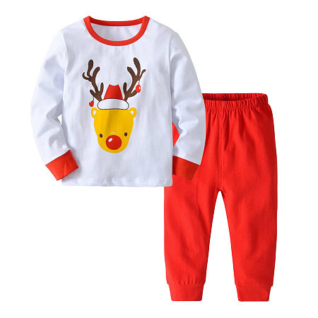 Buy Cartoon Reindeer Pattern Top Trouser Sets, white, SH18090301 for $13.62 in Popreal store