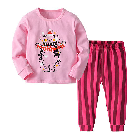 Buy Cartoon Christmas Bear Pattern Top Striped Trouser Sets, pink, SH18090302 for $13.62 in Popreal store