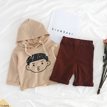 Buy Cartoon Little Boy Pattern Hooded Top Trouser Sets, apricot, SH18090304 for $15.23 in Popreal store