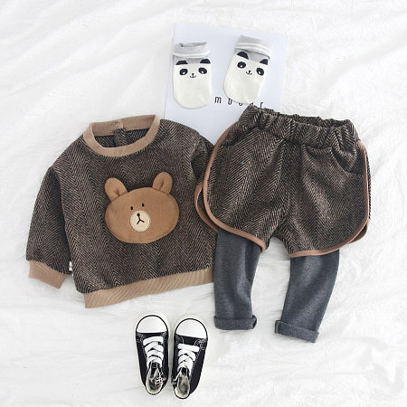 Buy Cartoon Bear Pattern Round Neck Top Trouser Sets, coffee, SH18090310 for $20.18 in Popreal store