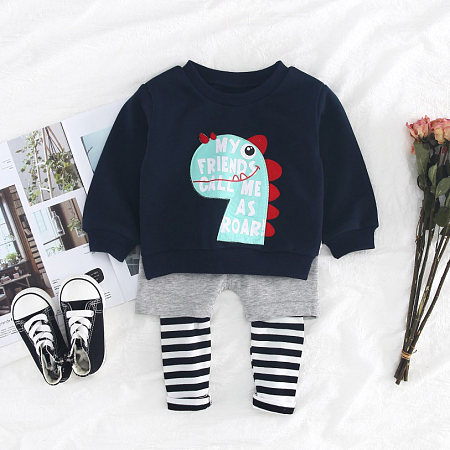 Buy Cartoon Dinosaur Letters Pattern Top Striped Trouser Sets, dark_navy, SH18090312 for $15.64 in Popreal store