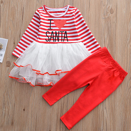 Heart-Shaped Letters Pattern Striped Tulle Stitching Dress Leggings Sets