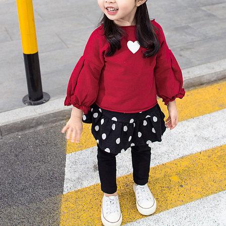 Heart-Shaped Pattern Puff Sleeve Top Polka Dot Skirt Sets