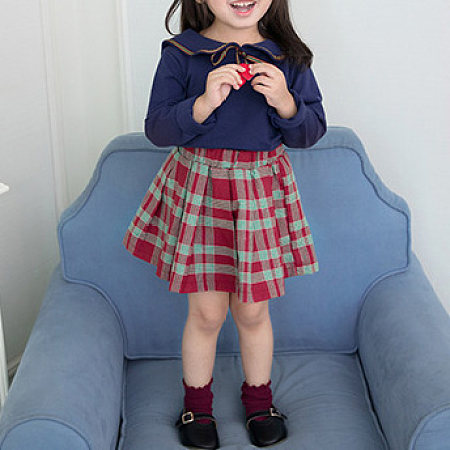 Doll Collar Heart Shaped Bowknot Decorated Top Plaid Skirt Sets