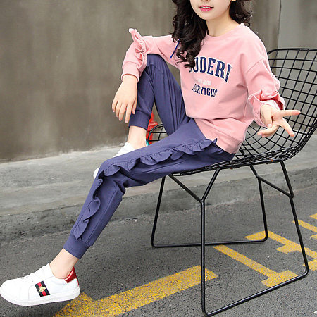 Buy Letters Pattern Ruffle Trim Top Trouser Sets, pink, SH18091120 for $16.84 in Popreal store