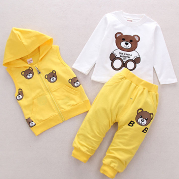 Bear Pattern Hoodie Zipper Round Neck Sets