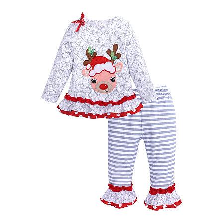 Long Sleeve Elk Pattern Top Striped Trouser Suit, 5355537