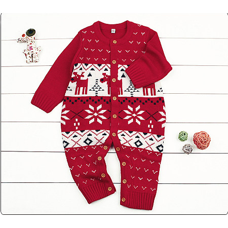 Christmas Elk Pattern Baby One Piece