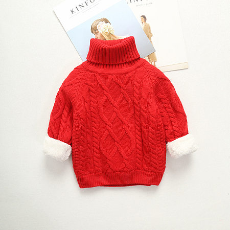 High Neck Solid Color Thickening Children's Sweater