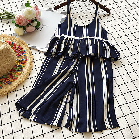Stripe Girls Summer Two Pieces Set