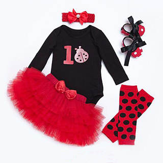Polka Dot Pattern Tulle Five Pieces Set