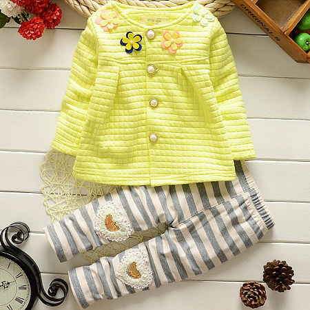 Stripe Flower Decorated Heart Pattern Button Two Pieces Set
