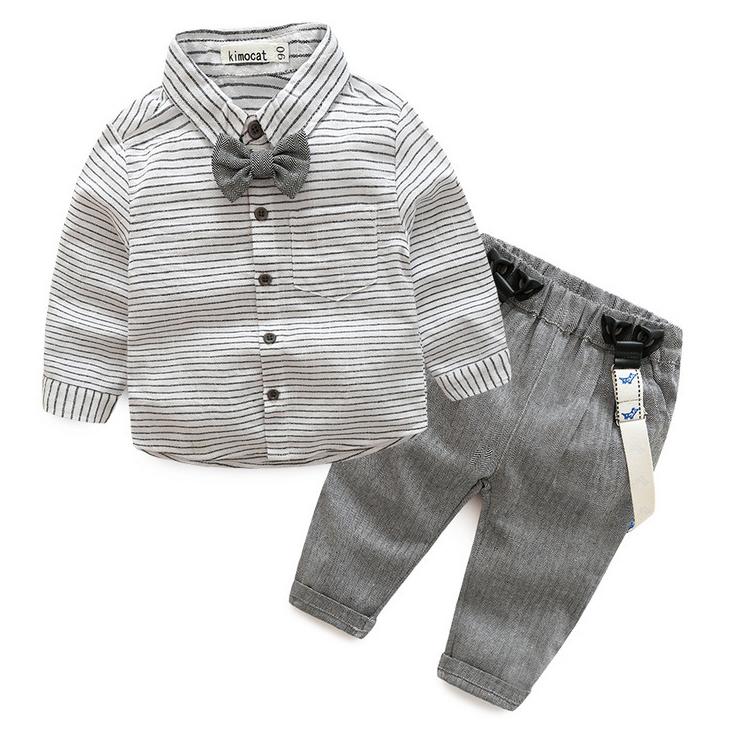 Boys Stripe Turn-Down Collar Button Drawstring Suspender Sets