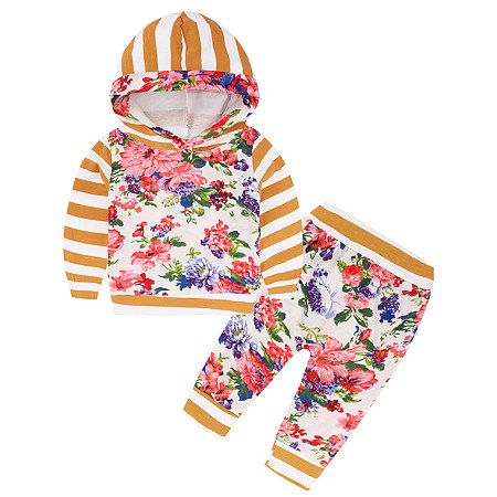 Flower Prints Stripe Patchwork Hooded Two Pieces Set