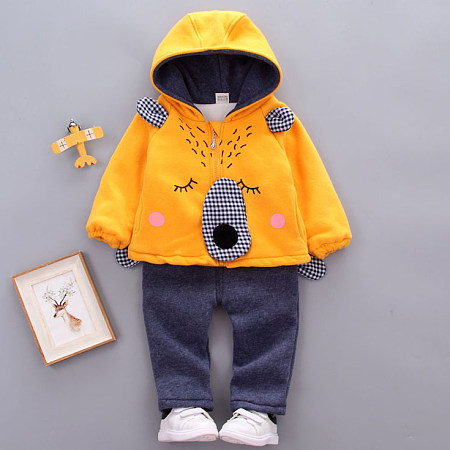Thickened Cartoon Animals Pattern Zipper Hooded Set