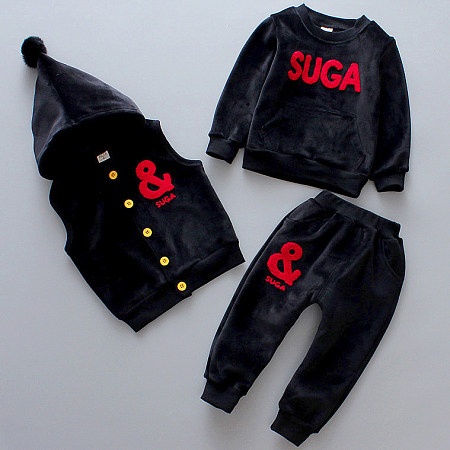 Thickened Velvet Letters Pattern Pompon Button Hooded Set