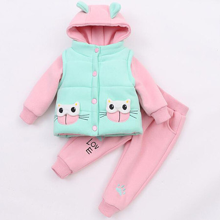 Buy Thickened Cartoon Cat Pattern Little Ear Hooded Set, green, SL17102026 for $33.59 in Popreal store