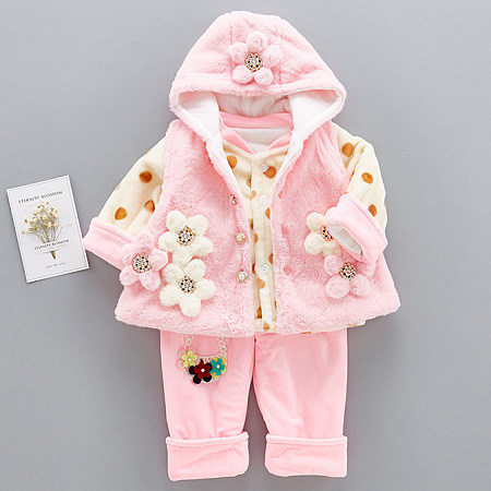 Thickened Plush Flower Decorated Polka Dots Hooded Set