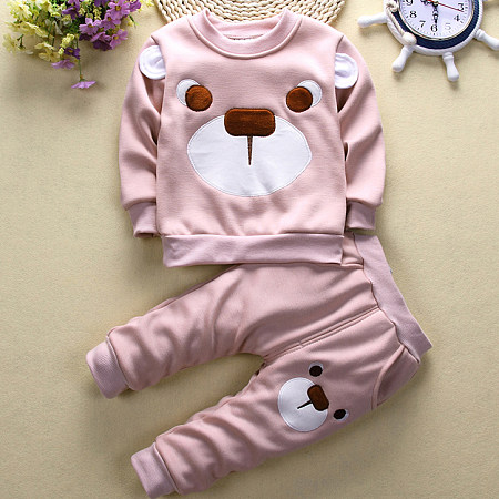 Buy Cartoon Bear Pattern Little Ear Elastic Waist Set, pink, SL17102815 for $18.39 in Popreal store