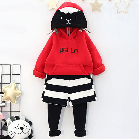 Cartoon Animal Face Pattern Fake-Two-Piece Stripes Hooded Set