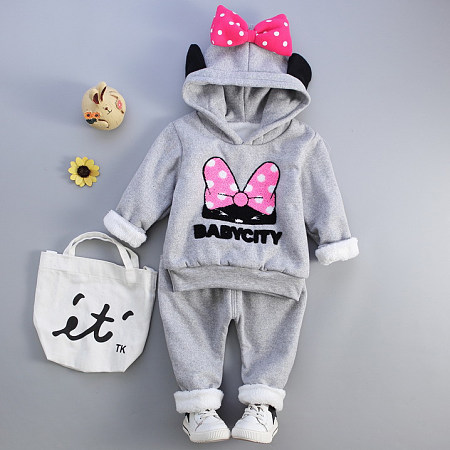 Thickened Bowknot Decorated Little Ear Hooded Set