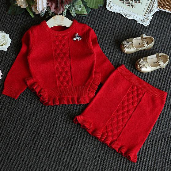 Knitting Ruffle Trim Bowknot Decorated Set