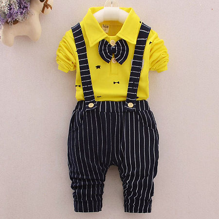 Bowtie Decorated Turn-Down Collar Contrast Stripes Suspender Set