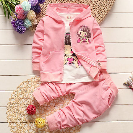 Bowknot Decorated Cartoon Character Pattern Zipper Hooded Three Pieces Set