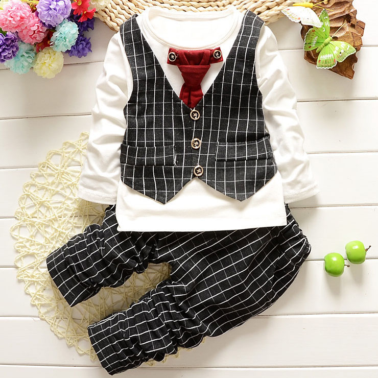 Plaid Tie Decorated Button Elastic Waist Three Pieces Set