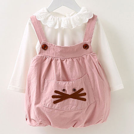 Cartoon Animal Pattern Doll Collar Suspender Dress Set