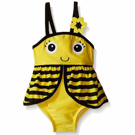 Flower Decorated Stripes Cartoon Bee Swimming Romper