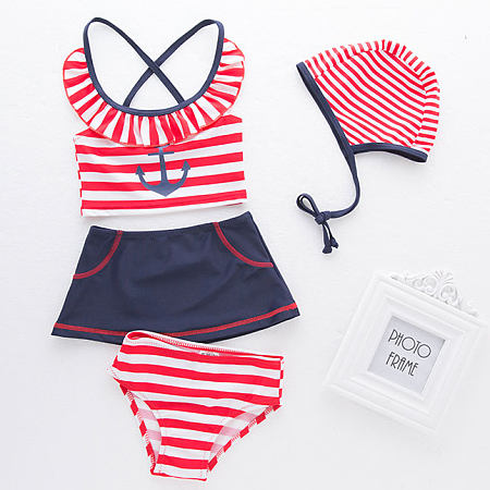 Stripes Anchor Pattern Color Block Swimsuit
